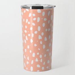 Handdrawn Polka Dot Pattern - White on Peach Travel Mug