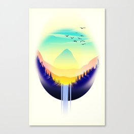 Landscape waterfall orb Canvas Print