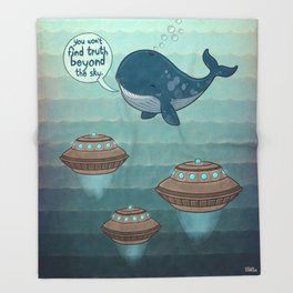 wise whale says Throw Blanket