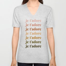 je t'adore in earthy colors Unisex V-Neck