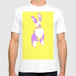 Puppy in yellow purple and white art print T-shirt