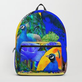 BLUE GREEN PEACOCK YELLOW BLUE ROSE FLORAL PATTERN Backpack