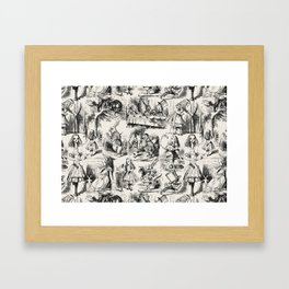 Alice in Wonderland | Toile de Jouy | Black and Beige Framed Art Print