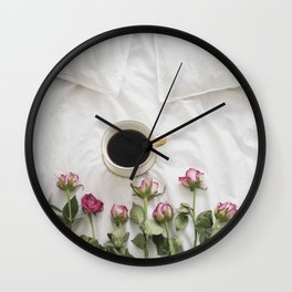 Roses and Coffee Wall Clock