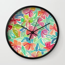 Tropical Floral Watercolor Painting Wall Clock