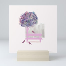 Park bench tree and birds Mini Art Print