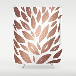 Floral petals burst - copper Shower Curtain