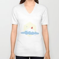 selena gomez V-neck T-shirts featuring Gomez Sleeping on a Cloud by Paul Scott (Dracula is Still a Threat)