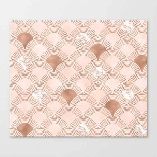 Elegant marble cotton candy fans in rose gold Canvas Print