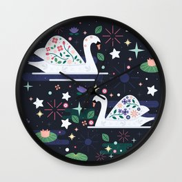 Swans on Stars Wall Clock