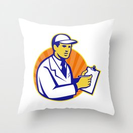Technician Inspector Worker Clipboard Retro Throw Pillow