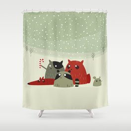 Guilty dudes in the snow Shower Curtain