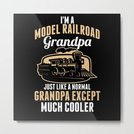 Model Train Grandpa Metal Print