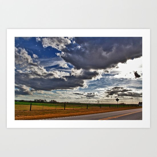 Driving on a Cloudy Evening 3 Art Print