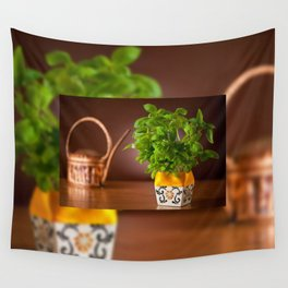 Ocimum basil plant in decorative flowerpot Wall Tapestry