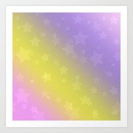 Star rain yellow, pink . Art Print