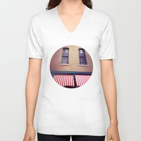 memphis V-neck T-shirts featuring Memphis Wall by wendygray