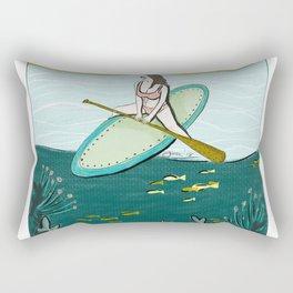 surfing girl beach resort art Rectangular Pillow