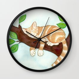 Shhh! cat is sleeping Wall Clock