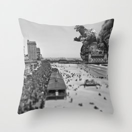 Old Time Godzilla in Atlantic City Throw Pillow