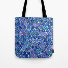 Sparkly Shades of Blue & Silver Glitter Mermaid Scales Tote Bag