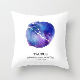 Taurus Watercolor Zodiac Constellation Throw Pillow