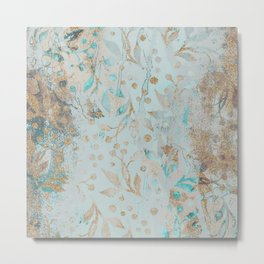 Pastel Botanical Watercolor Pattern Teal Gold Glitter Metal Print