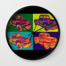 Colorful 1951 Ford F-1 Pickup Truck Pop Art  Wall Clock