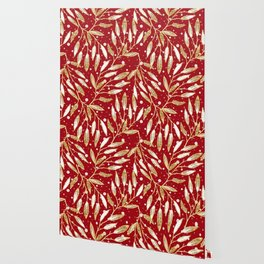 Christmas colorful pattern. Gold sprigs on a red background. Wallpaper