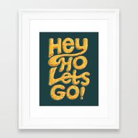 ramones Framed Art Prints featuring Hey Ho Let's Go by Word Quirk