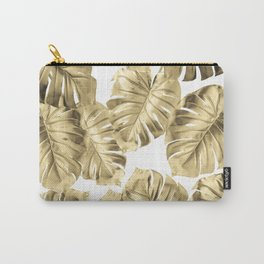 Gold Monstera Carry-All Pouch