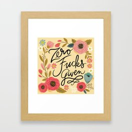 Pretty Sweary: Zero Fucks Given, in Yellow Framed Art Print