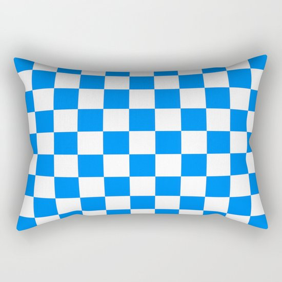 Checker (Azure/White) Rectangular Pillow