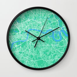 London Map | England | Green & Blue | More Colors, Review My Collections Wall Clock