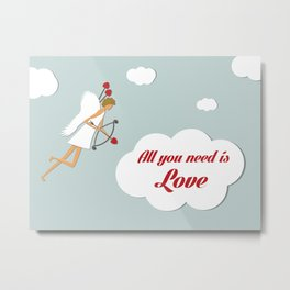 Cupid with bow and heart shaped arrows. All you need is love concept. Metal Print