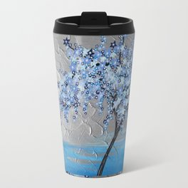 blue cherry blossom with silver grey gray white tree trees japanese japan beautiful prints Travel Mug