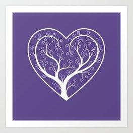 Ultraviolet Love Grows, heart shaped tree Art Print
