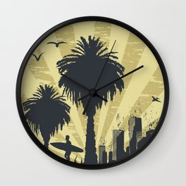 Sunny beach with palm surfer in Hawaii Wall Clock
