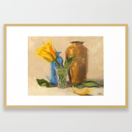 Yellow Rose with Brown Vase Framed Art Print