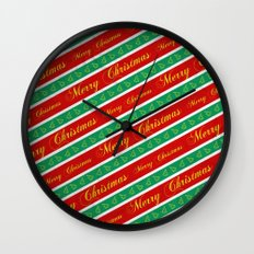 Christmas Wrapping Paper Wall Clock
