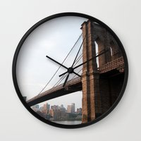 brooklyn bridge Wall Clocks featuring Brooklyn Bridge by Leslie Philipp