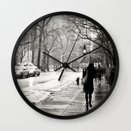 New York City - Rain Wall Clock