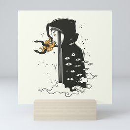Many Eyed Witch In Cloak With Magic Snakes, Goth art Mini Art Print