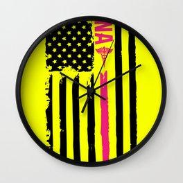 American Flag CNA Patriotic Nurse 4th of July Wall Clock