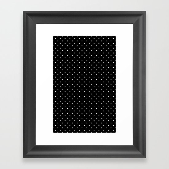 White polka dots on black Framed Art Print