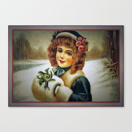 winter young lady Canvas Print