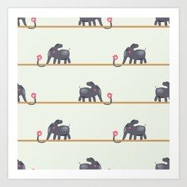 seamless pattern on valentine day with  elephant Art Print