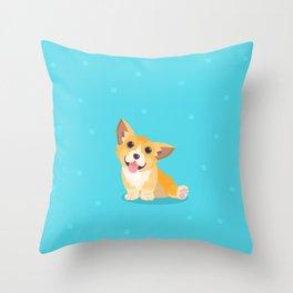 Sitting Cute Corg Throw Pillow