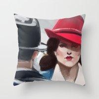 agent carter Throw Pillows featuring Agent Carter by IVIDraws