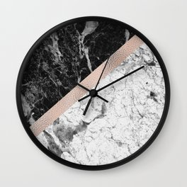 Monochrome marble designer - rose gold Wall Clock